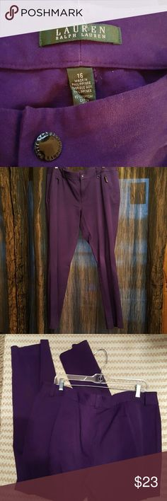 "Purple Nice Purple Pants Inseam 30"" 2 zip lined front pockets. Belt Loops 95% Cotton , 5% elastane Ralph Lauren Pants Straight Leg"