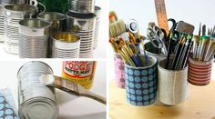 Tin Can Caddy - DIY Craft Room Organization Ideas - Click for Tutorial ... Do you love this too? See more awesome stuff at http://craftorganizer.org