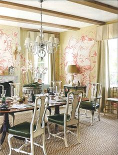 soft red wall mural in formal French country-style dining room (AD)