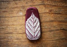 Crimson and Metallic Leaf Tall Pendant with Hand Painted Pressed Leaf Designs (1 piece)