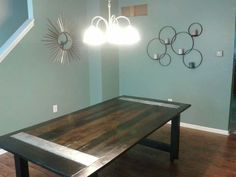 wooden dining table with metal inlays #rustic #wood #markelwoodwoodwork