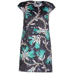 Mary Katrantzou Short Dress (€1.175) ❤ liked on Polyvore featuring dresses, dark blue, dark blue short dresses, zip dress, mary katrantzou dress, tent dress and cap sleeve mini dress