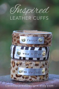 Fierce Leather cuff bracelet, wild and free cuff bracelet by LoveSquaredDesigns, $35.00