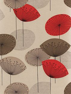 Buy Sanderson Dandelion Clocks Wallpaper, DOPWDA101, Red online at JohnLewis.com - John Lewis
