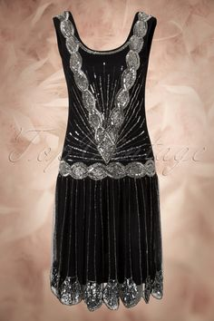 Frock and Frill - 20s Zelda Flapper Dress in Black