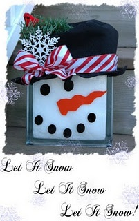Snowman glass block.  fill the block with 'fake' snow