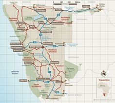 GOOD Map of Namibia, destinations and regions