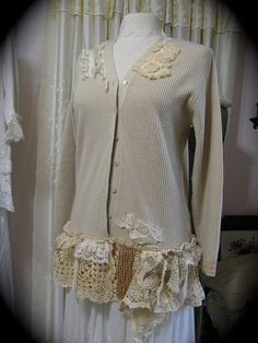 Cottage Shabby Sweater refashion country chic by TatteredDelicates