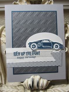 Karen's Angelic Impressions...features Stampin Up's Rev up the Fun stamp set and chevron embossing folder