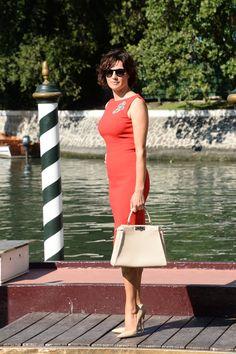 Italian actress Luisa Ranieri, Godmother of the 71st Venice Film Festival, spotted with her Fendi Selleria Peekaboo bag