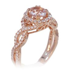 Morganite ring halo diamond twist shank rose gold engagement ring 6mm