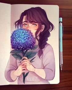 23.1 тыс. отметок «Нравится», 115 комментариев — Reem (@relseiy) в Instagram: «Shy florist.  Got inspired to draw Hydrangea, theyre so pretty but really detailed! Her arms look a…»