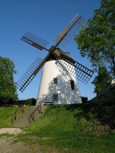 Eine der zwei letzten betriebsfähigen Windmühlen Österreichs steht in Podersdorf am See.