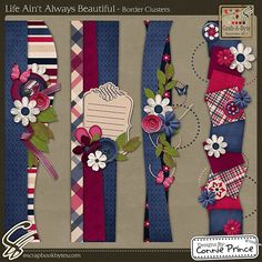Life Ain't Always Beautiful - Border Clusters :: Page Edges :: Embellishments :: SCRAPBOOK-BYTES