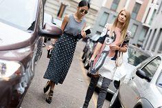 Fashion blogger Kykla Masha-Maria Kolosova carrying our handbag by Andres Gallardo in MFW with Oksana On