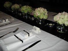 wedding table flowers - hydrangea and agee jars - vintage