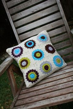 Ravelry: Project Gallery for Sunburst Granny Squares pattern by Priscilla Hewitt Mish Mash, Cushions, Pillows, Free Crochet, Diy And Crafts, Crochet Patterns, Crafty, Granny Squares, Knitting