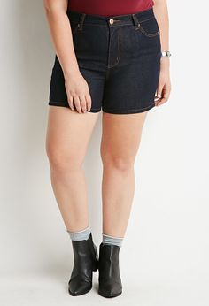 Plus Size Clean Wash Denim Shorts