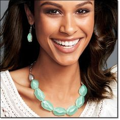 Raw Beauty Collection~FRESH, Spring color~ Soft mint faceted faux stones and colored beads set in silvertone. Chain-Drop Earrings~faux stone drops & Bead Drama Necklace~ Chunky beads with briolette accents. http://jgoertzen.avonrepresentative.com/