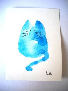 """""""Water Cat"""" (no72) Original Miniature Watercolor Painting by 'bdbworld' on Etsy ★❤★"""