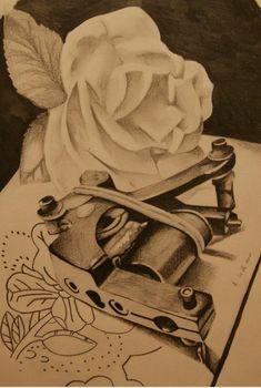 Illustration-tattoo on sketch (on paper) by Aleksandr Set Rotary Tattoo Machine, Tattoo Equipment, Tattoo Sketches, Black And Grey Tattoos, Portrait, Tattoo Photos, Tatting, Graffiti, Tattoo Designs