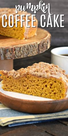 The PERFECT Pumpkin Coffee Cake Recipe with Cinnamon Streusel Moist, delicious Pumpkin Coffee Cake with a sweet Cinnamon Steusel and vanilla glaze. Easy recipe with freezer friendly options too! Pumpkin Coffee Cakes, Pumpkin Cake Recipes, Cinnamon Recipes, Pumpkin Dessert, Easy Cake Recipes, Best Dessert Recipes, Sweets Recipes, Fun Desserts, Baking Recipes