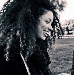 big hair curls + smile
