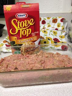 MEATLOAF made with STOVE TOP STUFFING. Gets rave reviews and SUPER easy. Cut into bite sizes and serve as appetizers with tooth picks and dipping sauce (better than regular meatballs) or leave it in the pan for a family dinner.