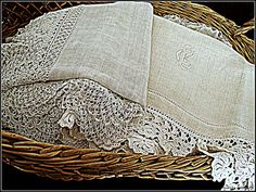 Basket of Antique French Linens