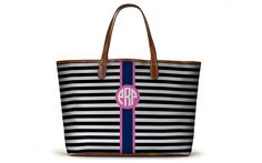 The St. Anne Tote - Spring Monogram Stripe - The Monogram Collection - Barrington Gifts