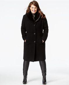 092fe0f690c Jones New York Plus Size Faux-Fur-Collar Herringbone Walker Coat   Reviews  - Coats - Women - Macy s