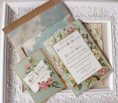 Vintage Floral Frame Wedding Invitation by SunshineandRavioli