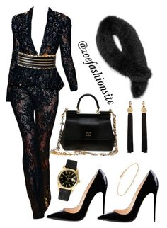 """""""Black Out"""" by zoefashionsite on Polyvore featuring Zuhair Murad, Balmain, Rolex, Tate, Yves Saint Laurent, Andrew Marc and Dolce&Gabbana"""