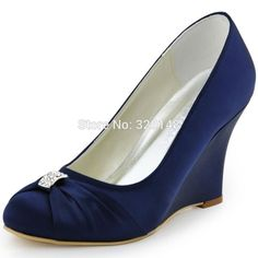 5451cfde3 Women Wedges Navy Blue High Heel Pumps Rhinestones Satin Bride Bridesmaids  Prom Evening Dress Wedding Bridal