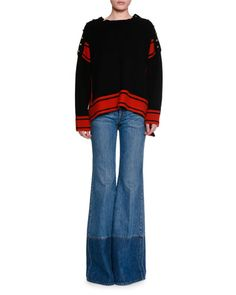 -6PYB Alexander McQueen  Military Striped Cashmere Sweater w/Buttons, Black/Red Two-Tone Denim Flare-Leg Jeans