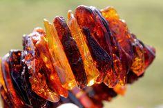 Raw dark Baltic Amber Bracelet Statement Jewelry by DreamsFactory