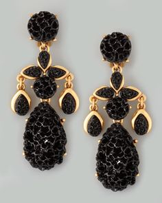 Oscar de la Renta Carved Drop Earrings, Black - Neiman Marcus