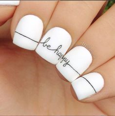 "Simple ""be happy"" nail design"