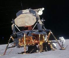 "Apollo 16's LM from the reach. The Aft Equipment Bay is prominent. Just above it is the tiny rectacular ""tab"" of the sublimation plate used to ""vent"" heat. (Image credit: NASA)"