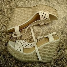 """Wedges Super cute wedges!! Worn once and they're too big for me :(. I wore them outside though so the bottom of them show that (see pic.) 4.5"""" wedge. It also looks like I managed to get a stain on the right shoe by the heel. Make me an offer! Mossimo Supply Co Shoes Wedges"""