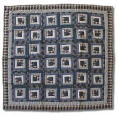 Patch Magic Blue Log Cabin Throw Quilt - THBLC