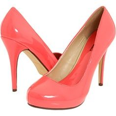 Shiny, coral heels with rounded toes