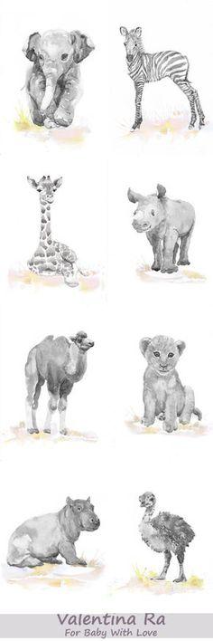 Neutral vivero Set de 8 estampas bebé animales acuarela
