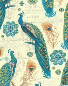 Majestic Beauties - Graceful Peacocks - Cream. Fabric from eQuilter.com