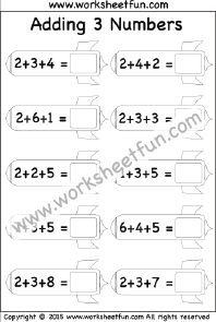 Adding 3 Numbers – Three Worksheets