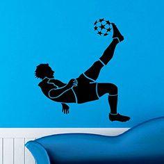 Soccer Player Wall Decal Vinyl Sticker Football Game Sport Wall Decor Home Interior Design Art Mural Boy Room Kids Nursery Bedroom Dorm Z748 WisdomDecalHouse http://www.amazon.com/dp/B00VCYWB1Y/ref=cm_sw_r_pi_dp_ArLivb0BQF43E