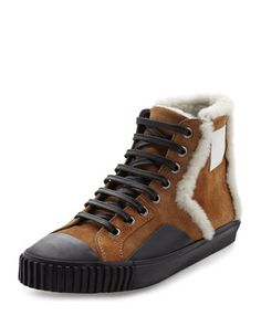 Shearling Fur-Lined Suede High-Top Sneaker, Tan by Balenciaga at Neiman Marcus.