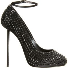 Giuseppe Zanotti Crystal Pump - Black size 9.5 ($519) ❤ liked on Polyvore featuring shoes, pumps, heels, chaussures, women, black high heel shoes, black stilettos, ankle strap shoes, black ankle strap pumps and stiletto heel pumps