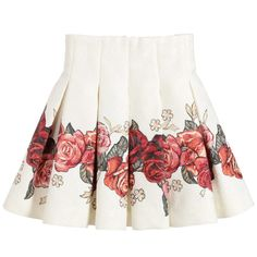 Monnalisa Ivory Cotton Skirt with Red Roses at Childrensalon.com