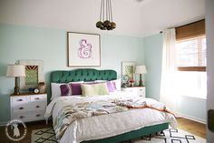 bedroom reveal - the handmade homethe handmade home Blue Bedroom, Master Bedroom, Bedroom Decor, Bedroom Ideas, Feminine Decor, Tufted Bed, Space Interiors, Headboards For Beds, Handmade Home